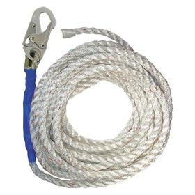 Rope Lifeline: 100 ft Lifeline Lg, Polyester, 5/8 in Lifeline Dia, 310 lb Max Load Capacity, Snap Hook