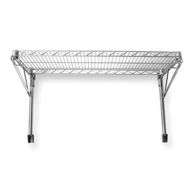 Wall-Mount Open Wire Shelving Kit: Chrome-Plated Steel, 1 Shelves, 250 lb Max Shelf Capacity, 14 in Ht, 24 in Wd