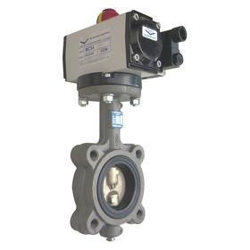 Pneumatically Actuated Butterfly Valve: Cast Iron, Aluminum Bronze, Double Acting, Air Open/Spring Close, Lug