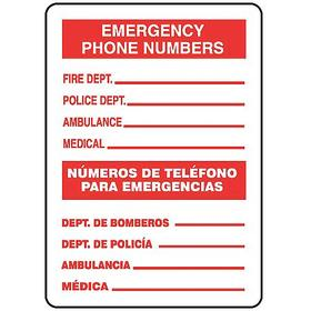 Accuform Emergency Contact Sign: 14 in Overall Ht, 10 in Overall Wd, Aluminum, Mounting Holes, English/Spanish, Outdoor