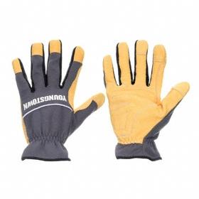 Youngstown Work Glove: Mechanics Glove, Goatskin, Shirred Cuff, Leather, Smooth, Gray/Tan, S Size, Std, Unlined, 1 PR
