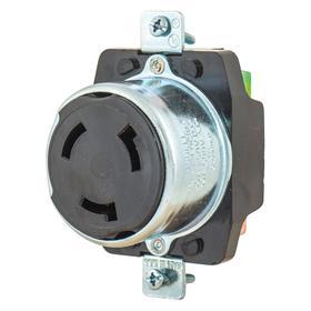 Hubbell Turn-Locking Outlet Receptacle: 3 Blades/Slots, 50 A Current, 250V DC/600V AC, Single Phase, Black, Socket, Industrial Grade