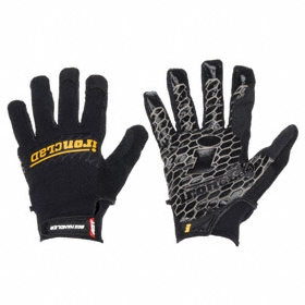 Work Glove: Mechanics Glove, L Size, Added Grip, Hook & Loop Cuff, Silicone/Synthetic Leather, Nylon, Black, 1 PR