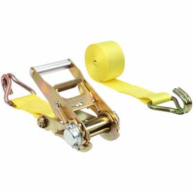 Tie-Down Strap with Ratchet and Double-J Hooks: 2 in Strap Wd, 15 ft Overall Lg, 1666 lb Max Load Capacity, Steel