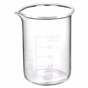 Beaker: 100 mL Capacity, Borosilicate Glass, 20 mL Graduation Intervals, 2 3/4 in Ht, 12 PK