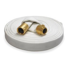 Indoor Fire Hose: 1 1/2 in Hose ID, 50 ft Overall Lg, Reel Fire Hose, Brass Fitting Material, 150 psi Max Op Pressure