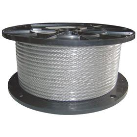 Wire Rope with Weather-Resistant Coating: 1/4 in Rope Dia, Vinyl, Galvanized Steel, 7 x 19, Strand, 5/16 in OD, 500 ft Overall Lg