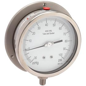 Process Compound Gauge: Bottom, 1/4 in Gauge Port Size, NPT Gauge Connection Type, 4 1/2 in Dial Dia, 0 psi Min Primary Pressure