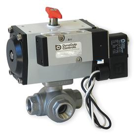DynaQuip Controls Pneumatically Actuated Ball Valve: Full, Direct, Normally Closed Configuration, Stainless Steel, Pneumatic