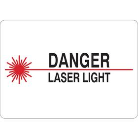 Radiation Sign: 7 in Overall Ht, 10 in Overall Wd, Aluminum, Mounting Holes, Danger, Laser Light, Text & Graphic, White