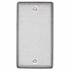 Wall Cover: Rectangle, Ivory, Galvanized Zinc, Std Plate Size, 1 Gangs, 2 in Overall Wd