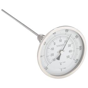 Thermometer: Screw Connection, -20.0° F Min Op Temp, 120.0° F Max Op Temp, Adj, 1/2 in Connection Size, 1/4 in Stem Dia