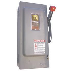 Schneider Electric Heavy Duty Safety Disconnect Switch: Three Phase, 3 Poles, Steel, 100 A @ 600V AC Switch Rating, Fusable