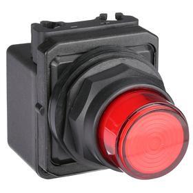 Pilot Light: 120V AC, 2.18 in Overall Lg, Transformer, Red, Operator Interface, 50000 hr Avg Life, Plastic, Black, RED, Pressure Plate