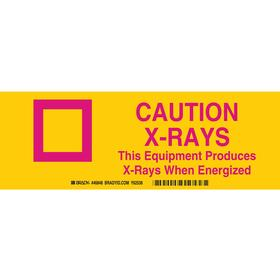 Brady Radiation Sign: 3 1/2 in Overall Ht, 10 in Overall Wd, Aluminum, Mounting Holes, Caution, X-Rays, Text, Yellow
