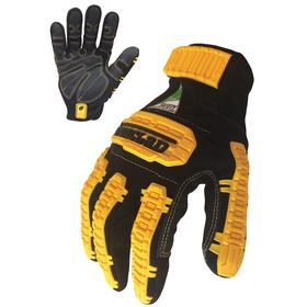 Ironclad Glove: Back of Fingers/Back of Hand/Knuckles, TPR Cuff, Synthetic Leather, Black/Yellow, Small Size, 1 PR