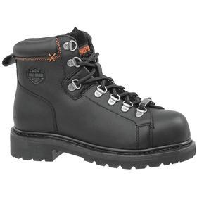 Harley Davidson Leather Work Boot: Women, Steel, 5 in Shoe Ht, Black, Gen Use, Electrical Hazard Rated, 7 1/2 Women's Size, 1 PR