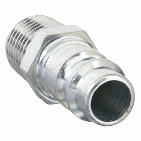 Quick-Disconnect Plug: Industrial, 3/8 in Coupling Size, Steel, 1/4 Pipe Size, NPT, Male, 300 psi Max Op Pressure, -40° F Min Op Temp