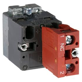 Lamp Module & Contact Block: For Chrome Operators, 1.57 in Overall Lg, Red, 2 Haz Material Indicator, LED, (1) Contact Block, Includes Bulb
