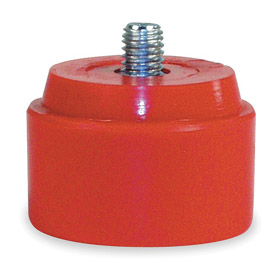 "Rep Hammer Face: Medium Soft Hardness, Threaded, 1 1/2 in Dia, PVC, Red, 5/16""-18 Thread Size"