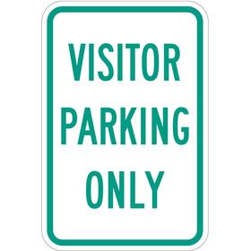 Parking Sign: Visitor Parking Only, 18 in Overall Ht, 12 in Overall Wd, Aluminum, High Intensity