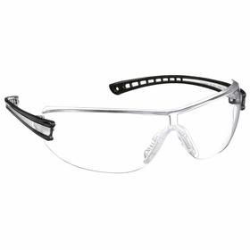 Gateway Safety Safety Glasses: Clear, Wraparound Frame, Scratch Resistant, Black/Clear, Polycarbonate, Multicolor