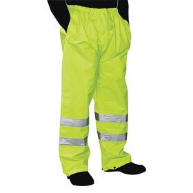 Rain Pant: ANSI Class 2, Denier Polyester Oxford with PU Coating, Lime, 2 Pockets, 27 in Inseam Lg, 52 in Max Waist Size