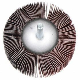 ARC Flap Wheel: Fine Relative Grit Grade, Unthreaded Shank, 2 1/2 in Wheel Dia, 1 in Face Wd, 1/4 in Shank Dia, 120 Grit