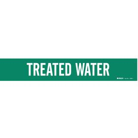 Brady Self-Adhesive Pipe Marker: Treated Water, White, Green, 2 1/4 in Label Ht, 14 in Label Wd, 2 1/2 in Min Pipe OD