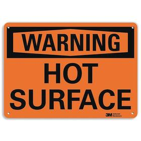Lyle Hot Temperature Sign: 10 in Overall Ht, 14 in Overall Wd, Aluminum, Mounting Holes, English, Warning, Hot Surface