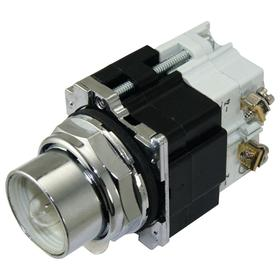 Eaton Push to Test Pilot Light without Lens: 120V AC, 2.03 in Overall Lg, Transformer, For Incandescent, Black, Chrome
