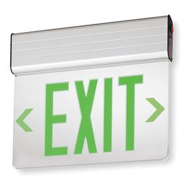 Acuity Lithonia Lighted Exit Sign: 1 Faces, Directional Indicators, Green, 11 3/4 in Overall Ht, 13 5/8 in Overall Lg