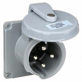 Hubbell IEC Non-Metallic Watertight Pin & Sleeve Male Receptacle: Single Phase, 4 Contacts, 60 Hz Volt Freq, 100 A Current, Nylon
