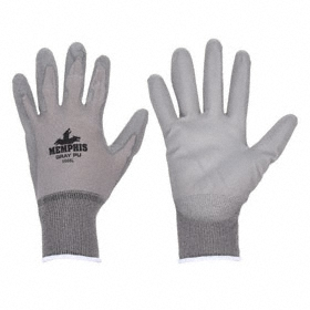 Work Glove: Coated Fabric Glove, L Size, Palm Dip, Nylon, Polyurethane, Smooth, Knit Cuff, Gray, 1 PR