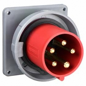 Hubbell IEC Non-Metallic Watertight Pin & Sleeve Male Receptacle: Three Phase, 5 Contacts, 60 Hz Volt Freq, 60 A Current