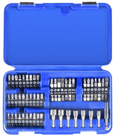 Drive Bit Set: Power, Hex/Phillips/Pozidriv/Slotted Bit, 51 Pieces