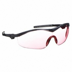 Safety Glasses: Vermillion, Wraparound Frame, Scratch Resistant, Black, ANSI Z87.1-2010, Nylon, Temple Ratchets, 180°
