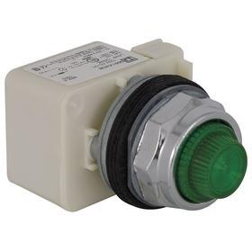 Schneider Electric Pilot Light: 120V AC, Full Volt, Green, For 120 V AC, Includes Bulb, For Incandescent, Chrome Plated