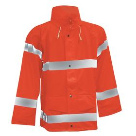 Tingley Rain Jacket: Polyester, Orange, Snap/Storm Flap/Zipper, Men, Attached Hood, 31 in Overall Lg, XL Size