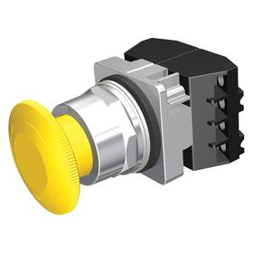 Siemens Non-Illuminated Push Button Switch: Mushroom Operator, 1NO/1NC Pole-Throw Configuration, Maintained, Yellow
