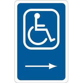 Brady Accessible Parking Sign: 18 in Overall Ht, 12 in Overall Wd, Aluminum, High Intensity, Accessible with Right Arrow