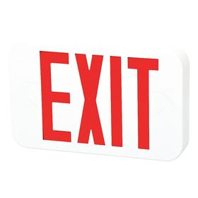 Impact Resistant Plastic Lighted Exit Sign: 1/2 Faces, Directional Indicators, Red, 8 1/4 in Overall Ht, 2 in Overall Dp