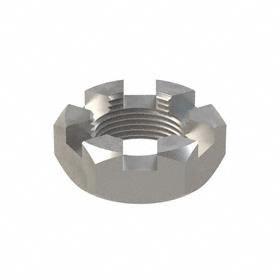 """Hex Castle Nut: Steel, Plain, Grade 5 Material Grade, 1 1/4""""-12 Thread Size, 1 7/8 in Wd, 23/32 in Ht, 5 PK"""