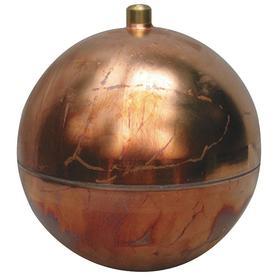Float Ball: Copper, Round, External, 5 in Float Dia, 8.9 oz Float Wt, 1/2 in Thread Size, NPT, 180° F Max Fluid Temp