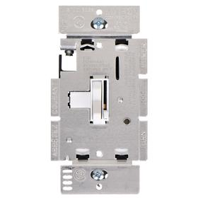 Lutron Dimmer Switch: For Fluorescent, Toggle Dimmer, 277V AC, 1,000 W Max Capacity, 4.6 in Overall Ht, White, 3-Wire