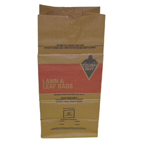 Trash Bag: Paper, For Outdoor Use, 30 gal Capacity, 16 in Wd, 35 in Ht, 12 in Dp, 5.5 mil Thickness, Brown, 5 PK