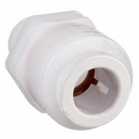 Parker Hannifin Push-to-Connect Tube Connector: Male, PVDF, 1/4 in Port 1 Tube Size, 1/4 Pipe Size (Port 2), NPT