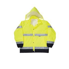 Breathable Rain Jacket: ANSI Class 3, L Size, Polyester Oxford/Polyurethane, High Visibility Yellow, Snap/Zipper, Unisex
