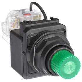 Pilot Light: 120V AC, 2.18 in Overall Lg, Full Volt, Green, Operator Interface, 50000 hr Avg Life, Plastic, Black, GREEN