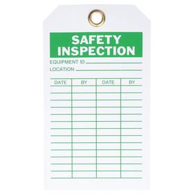 Inspection Tag: 7 in Overall Ht, 4 in Overall Wd, Polyester, Safety Inspection, Equipment ID/Location, Metal, 10 PK